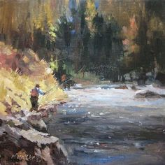 """Fly Fishing and a great day in the great outdoors"" - Original Fine Art for Sale - © Mary Maxam"