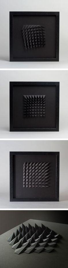 esculturas de papel negras