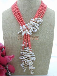 """3 strands 50"""" Pink Coral&White Keshi Pearl Necklace free shipment"""