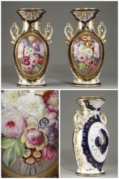 jarrones de porcelana Pareja de Fabricación Bayeux