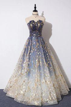 A Line Blue Tulle Strapless Long Prom Dress, Floor Length Graduation Dresses – Simibridaldress