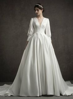 White Satin Deep V Neck Long Sleeve Wedding Dress With Train # Bridal Dress . White Satin Deep V-Neck Long Sleeve Wedding Dress With Train # Bridal Dress # Long Sleeve # With Simple Wedding Dresses Lace White Späg. Long Sleeve Wedding, Wedding Dress Sleeves, Long Wedding Dresses, Bridal Dresses, Lace Dress, Dresses With Sleeves, Dress Long, Long Sleeve Gown, Wedding Gowns