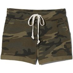 Lounge Short ❤ liked on Polyvore featuring shorts, camo shorts, camouflage shorts, french terry shorts, camoflauge shorts and camo short shorts