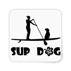 SUP Dog Sitting Stickers