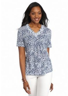 Alfred Dunner  Petite St. Augustine Embellished Printed Burnout Tee