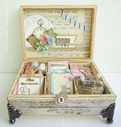 DIY: altered cigar box filled with really cute sewing ephemera Cigar Box Art, Cigar Box Crafts, Cigar Box Projects, Cigar Box Purse, Altered Cigar Boxes, Altered Tins, Altered Art, Decoupage Box, Shabby Chic Crafts