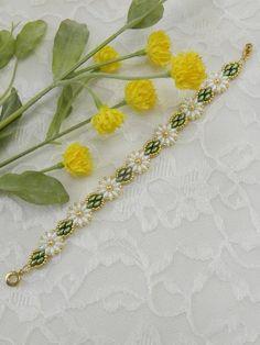 Swarovski Beaded Daisy SuperDuo braceletBeaded braceletPearl