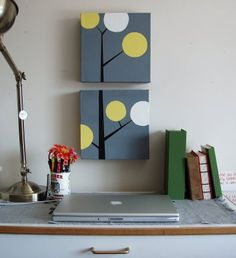 Cute DIY canvas idea! For the office, perfect colors!
