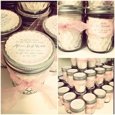 Baby shower favors. Love the diamond quilted look of the jars. Could fill with anything.