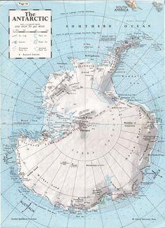 Jahrgang Antarktis Karte von 1966, Südpol Karte, Karte der Antarktis