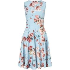 Floral Print Skater Dress ($80) ❤ liked on Polyvore featuring dresses, botanical dress, floral dress, floral pattern dress, miss selfridge and blue dress