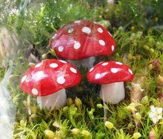 Handmade Clay MiniMiniature Mushrooms Terrarium/Fairy by lanemeier, $4.50