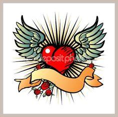 Tatto style emblem, vector love