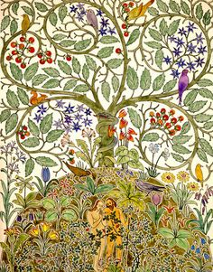The Garden of Eden and The Tree of Life, design for wallpaper or textile by CFA Voysey Tree Of Life Art, Tree Art, Art Nouveau, Arts And Crafts Movement, Adam Et Eve, Frida Art, Garden Of Eden, Illustration, Counted Cross Stitch Patterns