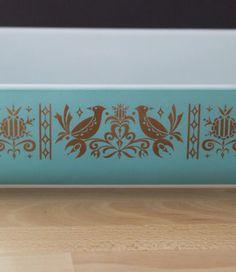 Rare promotional Vintage PYREX Turquoise&Gold Space Saver Casserole 2QT #575-B #PYREX