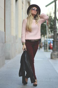 Blush and burgundy. Love the color combo and would love some burgundy pants for Fall and Winter.