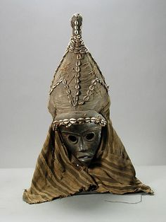Africa | Mask with Cloth Hood from the Dan people of Liberia/Ivory Coast | 20th century | Wood, textile and shells