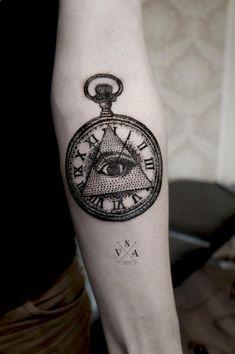 Dotwork Triangle Eye In Pocket Watch Tattoo On Forearm