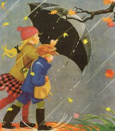 Young girl and boy walking in the rain with an umbrella. Illustration by Martta Wendelin Art And Illustration, Vintage Illustrations, Walking In The Rain, Singing In The Rain, Boy Walking, Umbrella Art, Rainy Days, Vintage Children, Autumn Leaves