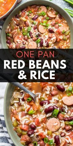 Easy Red Beans & Rice Andouille sausage, beans and riceYou can find Sausage recipes and more on our website.Easy Red Beans & Rice Andouille sausage, beans and rice Red Beans And Rice Recipe Easy, Easy Rice Recipes, Bean Recipes, Soup Recipes, Dinner Recipes, Healthy Recipes, Recipes With Red Rice, Red Beans And Rice Recipe With Sausage, Recipes