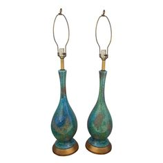 Mid-Century Drip Glazed Pottery Lamps - A Pair - $1,295 Est. Retail - $415 on Chairish.com