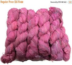 SALE 50g Recycled Sari Silk Ribbon, Berry pink