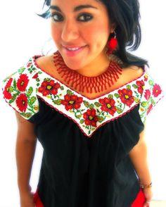 Noche de Amor  Vintage MexicanBeaded fine chaquira  Pure Cotton Blouse-Frida Kahlo Style