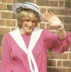 September 3, 1982: Princess Diana at the wedding of former flatmate & bride, Carolyn Pride and James Bartholomew (groom) at Chelsea Old Church, London