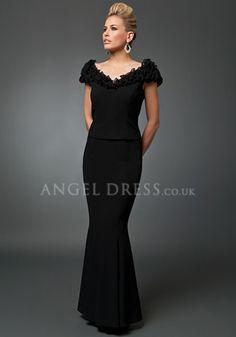 Elegant Off the Shoulder Chiffon Short Sleeves Black Mother of the Bride Dress