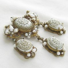 Vintage signed ORIGINAL by ROBERT Molded Glass, Rhinestones and Faux Pearls Gilt Dangle Brooch or Pin by MyVintageJewels, $145.00