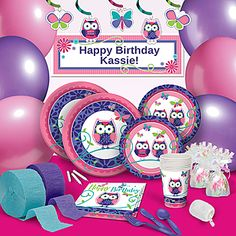 Our Owl Pal Birthday Ultimate Party Pack features an adorable pink and purple owl on a coordinating boarder.