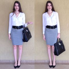 @lookbyus look trabalho do dia work outfit style fashion roupa moda tips listras stripes