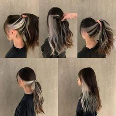 Two Color Hair, Hair Color Streaks, Hair Dye Colors, Hair Color For Black Hair, Hair Highlights, Dark Hair, Hair Color Underneath, Dye My Hair, Aesthetic Hair