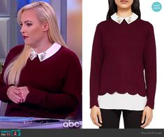 683caaf6b Meghan s maroon sweater with embellished collar on The View. Outfit  Details  https