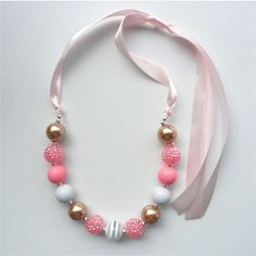 Cheap necklace alice, Buy Quality necklace skull directly from China necklace teardrop Suppliers: 2015 Fashion kids chunky bubblegumm beads necklace for baby girl charm design child chunky necklace Little Girl Jewelry, Baby Jewelry, Kids Jewelry, Beaded Jewelry, Beaded Bracelets, Toddler Jewelry, Jewelry Rings, Silver Jewelry, Jewellery