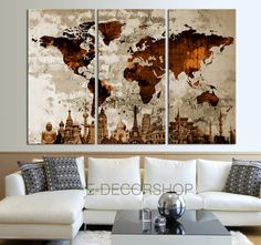 Drop shipping 3 panel autumn tree painting canvas wall art picture the world of the wonder together world map canvas print on old wall vintage large gumiabroncs Images