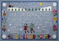 Alphabet on Ice Cross Stitch Pattern Needle's Notion Skating Mittens Sampler  #NeedlesNotion
