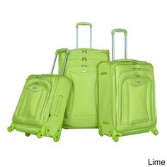 @Overstock - Olympia Luxe 3-piece Expandable Spinner Luggage Set - This durable luggage set is expandable for added packing capacity and is composed of bold black twill ballistic polyester. The four-wheel spinner system allows free movement in all directions.  http://www.overstock.com/Luggage-Bags/Olympia-Luxe-3-piece-Expandable-Spinner-Luggage-Set/8233186/product.html?CID=214117 BMD              209.75