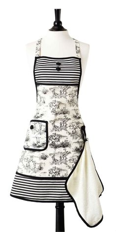 Jessie Steele Hostess Apron Bib Gigi French Toile with Attached Towel Sewing Lace, Sewing Aprons, Retro Apron, Aprons Vintage, Upcycled Vintage, Vintage Sewing, Cute Aprons, Kitchen Aprons, Kitchen Items