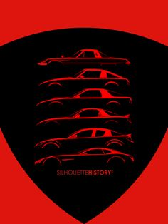 Rotary Sports Car SilhouetteHistorySilhouettes of Mazda's Wankel sports cars: Cosmo, three generations of RX-7 RX-8 and the brand new RX-Vision Concept. Home | FB | Instagram | Twitter | Shop