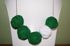 Green & White Rosette Necklace #MSU #EMU