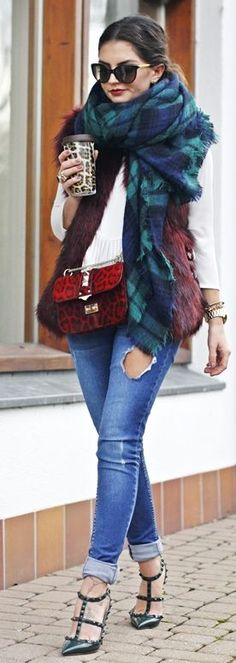 Burgundy Faux Fur Ve