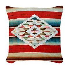 Vintage Red Mexican Serape Woven Throw Pillow > Korpita Art Throw Pillows > Rebecca Korpita Coastal Design