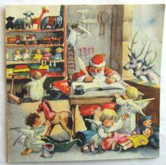 Vintage Christmas Card Santa's Workshop with Angels Circa 1945 Brownie