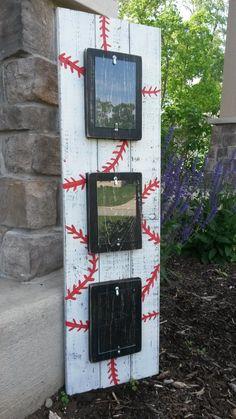Custom painted baseball picture frame by BlessHerHeartDesigns