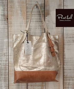 Gold leather tote women leather bag premium leather by Percibal