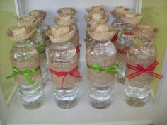 Farm Party Water Bottles with burlap and tiny straw hats!  #farmparty #waterbottle