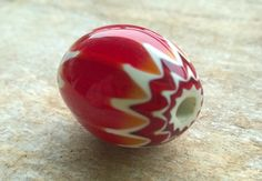 Red Chevron Bead,Trade Bead,27mm Medium Glass Layered Beads,African Trade Beads,Glass Beads,Craft Supplies,Bead Supplies,Old Beads by RedEarthBeads on Etsy