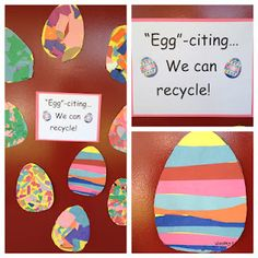 Recycling Craft: a great way to teach recycling in the classroom.  Decorate Easter Eggs with the scraps in your recycling bin!