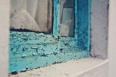 weathered blue | window | porthleven, cornwall